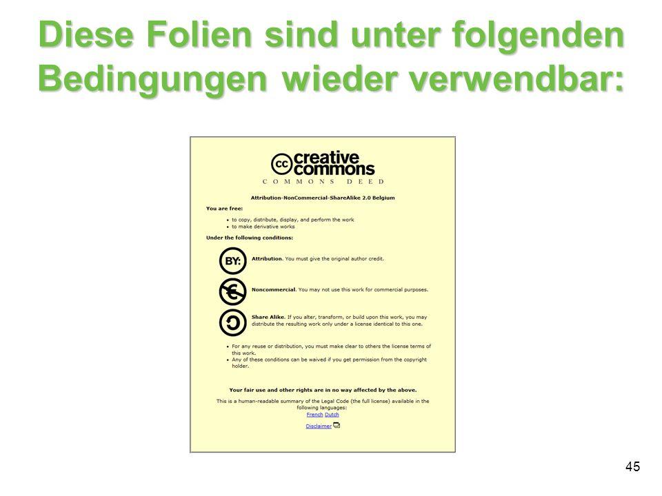 45 Diese Folien sind unter folgenden Bedingungen wieder verwendbar: