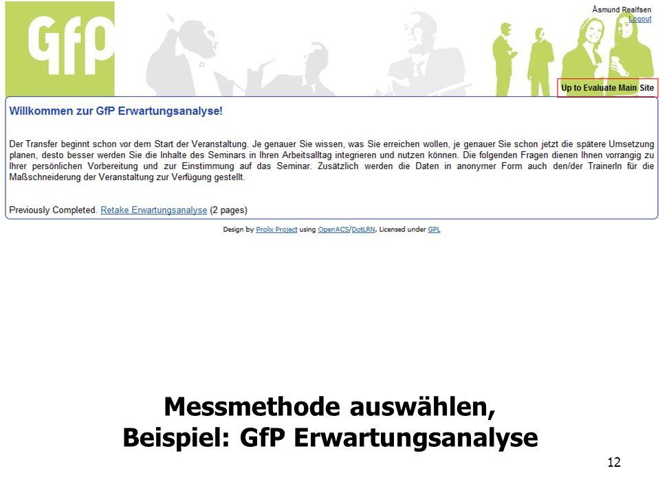 12 Messmethode auswählen, Beispiel: GfP Erwartungsanalyse