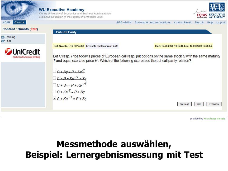 13 Messmethode auswählen, Beispiel: Lernergebnismessung mit Test