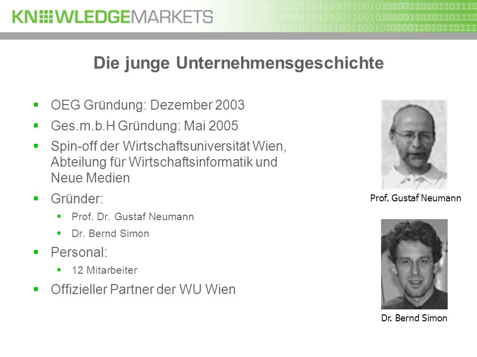 Die junge Unternehmensgeschichte OEG Gründung: Dezember 2003 Ges.m.b.H Gründung: Mai 2005 Spin-off der Wirtschaftsuniversität Wien, Abteilung für Wirt