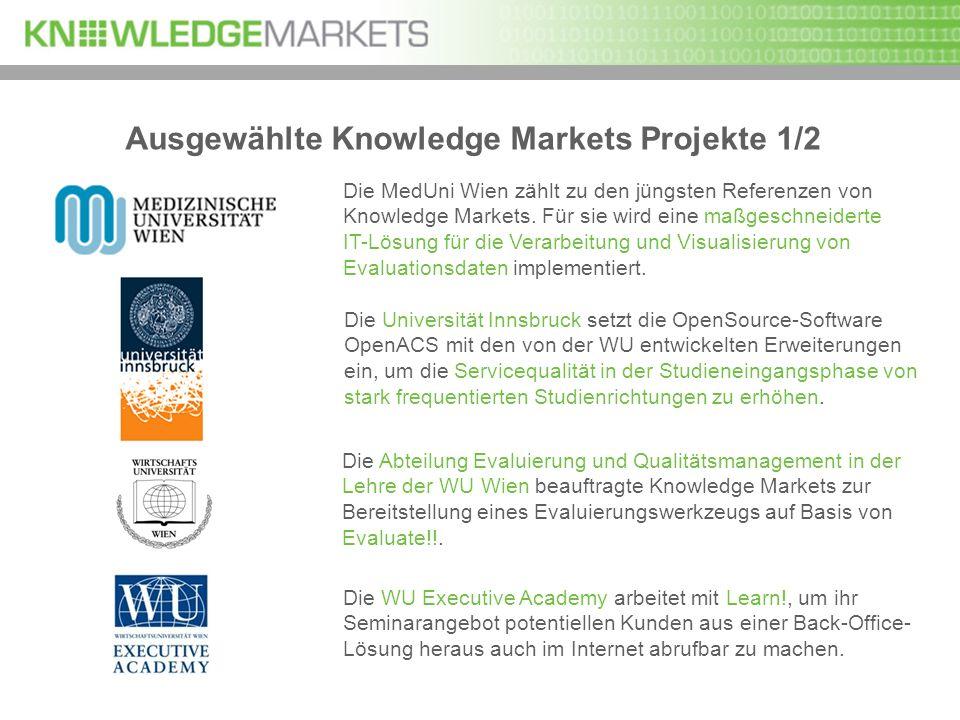 Ausgewählte Knowledge Markets Projekte 1/2 Die MedUni Wien zählt zu den jüngsten Referenzen von Knowledge Markets. Für sie wird eine maßgeschneiderte