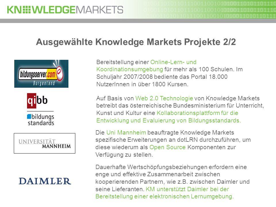 Ausgewählte Knowledge Markets Projekte 2/2 Bereitstellung einer Online-Lern- und Koordinationsumgebung für mehr als 100 Schulen. Im Schuljahr 2007/200