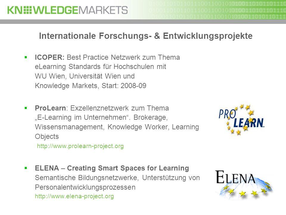 Internationale Forschungs- & Entwicklungsprojekte ICOPER: Best Practice Netzwerk zum Thema eLearning Standards für Hochschulen mit WU Wien, Universitä