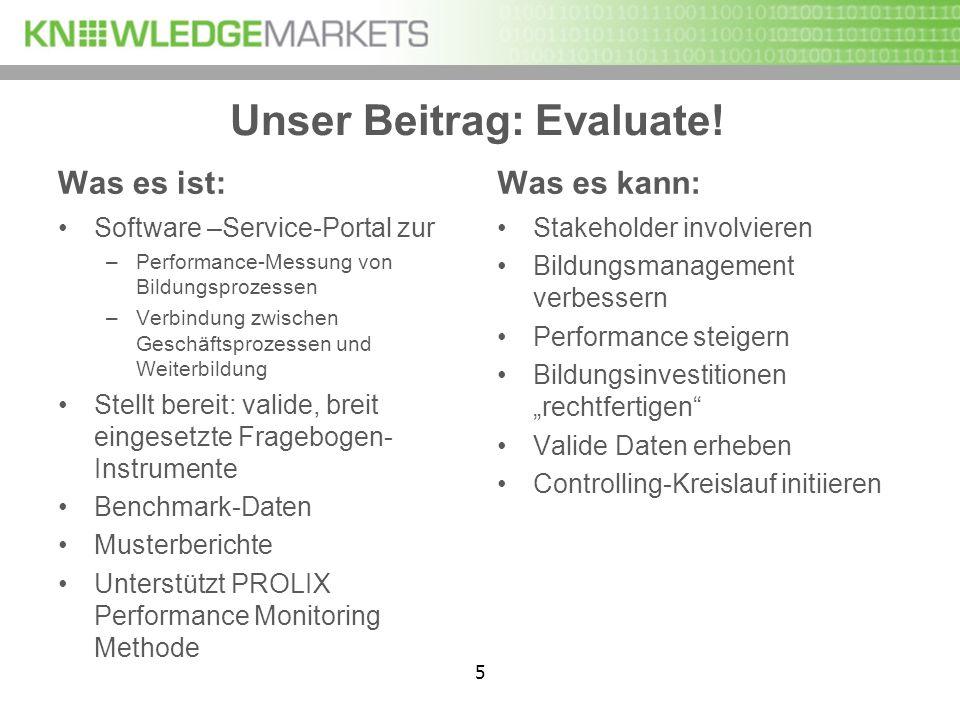 5 Unser Beitrag: Evaluate! Was es ist: Software –Service-Portal zur –Performance-Messung von Bildungsprozessen –Verbindung zwischen Geschäftsprozessen