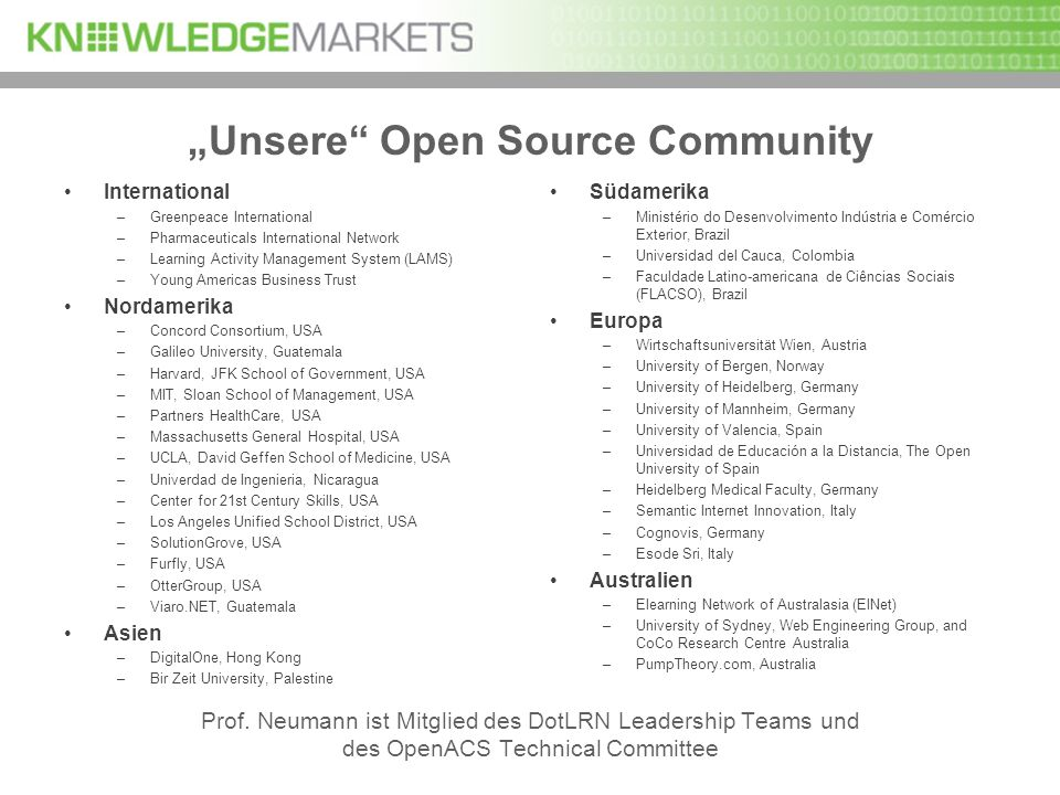 Unsere Open Source Community International –Greenpeace International –Pharmaceuticals International Network –Learning Activity Management System (LAMS