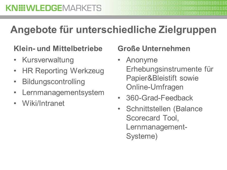 Angebote für unterschiedliche Zielgruppen Klein- und Mittelbetriebe Kursverwaltung HR Reporting Werkzeug Bildungscontrolling Lernmanagementsystem Wiki