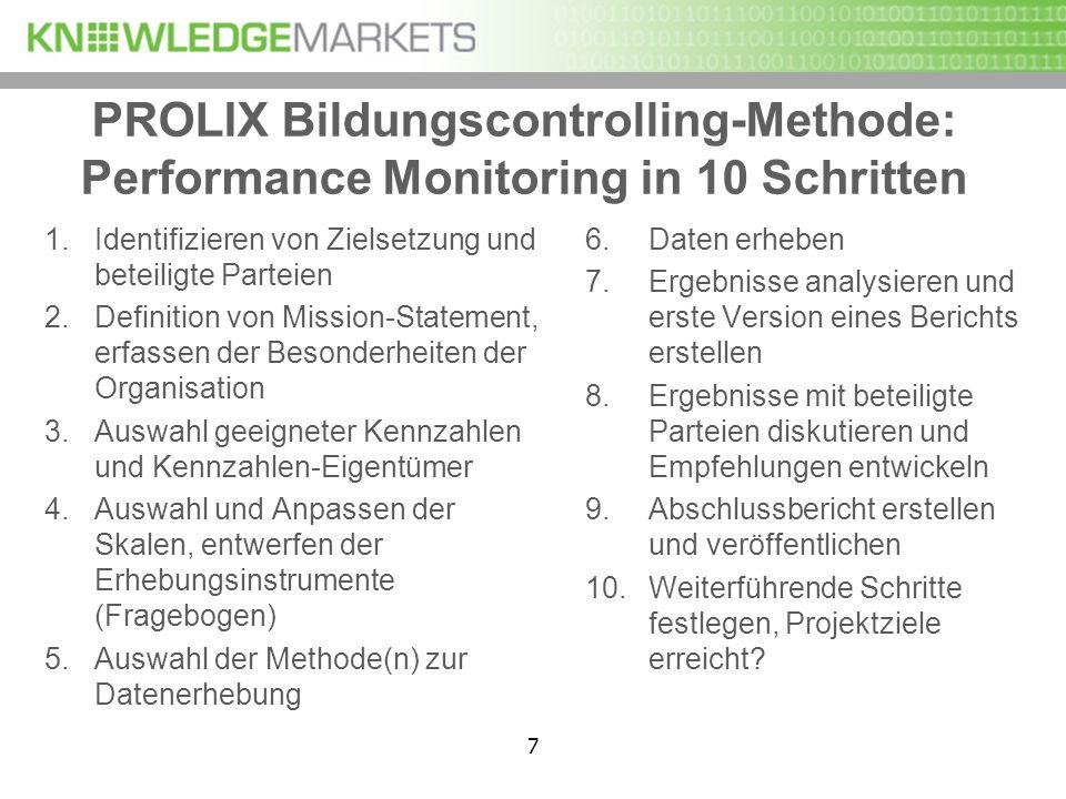 7 PROLIX Bildungscontrolling-Methode: Performance Monitoring in 10 Schritten 1.Identifizieren von Zielsetzung und beteiligte Parteien 2.Definition von