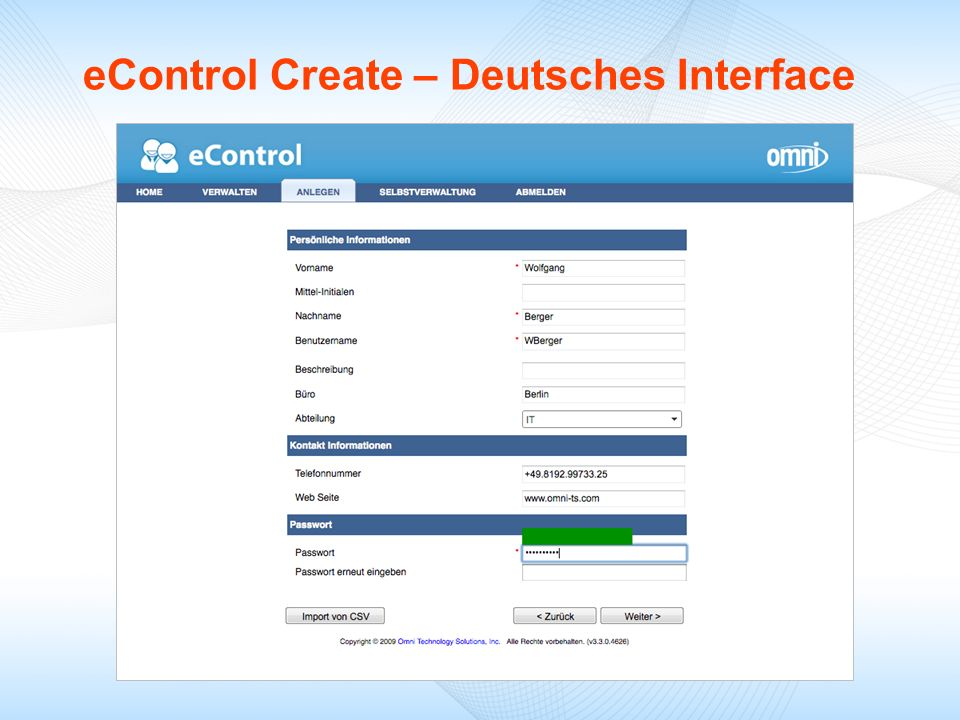 eControl Create – Deutsches Interface