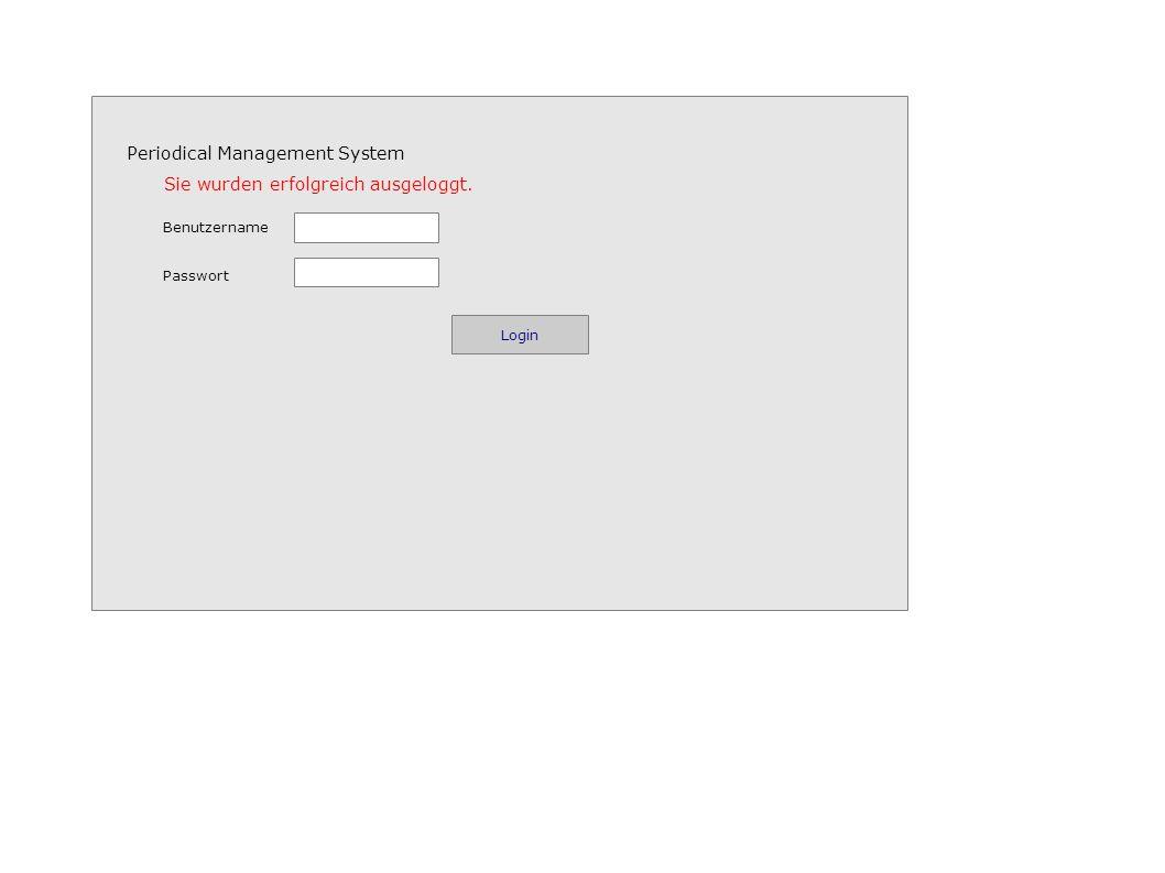 Periodical Management System Benutzername Passwort Login Sie wurden erfolgreich ausgeloggt.