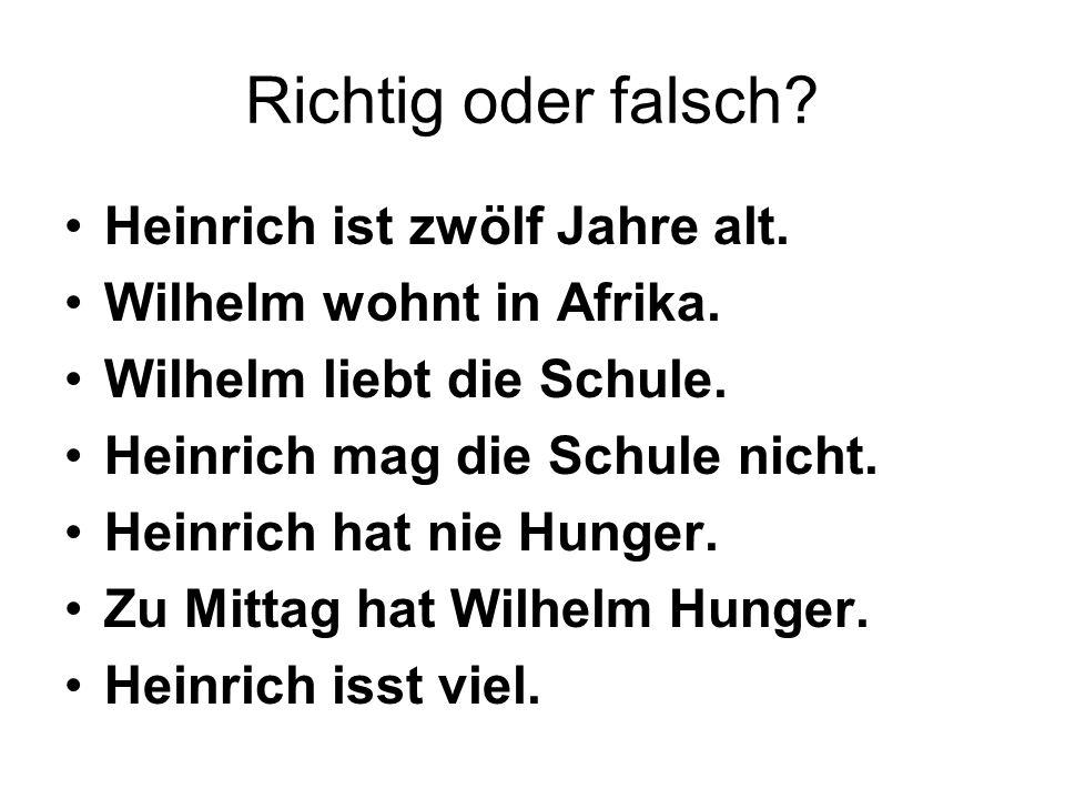 Richtig oder falsch? Heinrich ist zwölf Jahre alt. Wilhelm wohnt in Afrika. Wilhelm liebt die Schule. Heinrich mag die Schule nicht. Heinrich hat nie