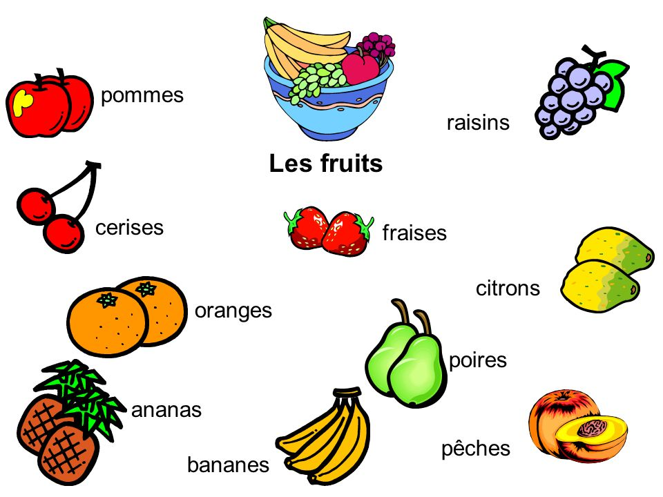 Les fruits pommes cerises ananas raisins oranges fraises poires pêches citrons bananes