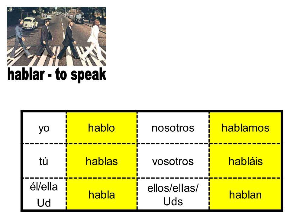 yohablonosotroshablamos tútúhablasvosotroshabláis él/ella Ud habla ellos/ellas/ Uds hablan