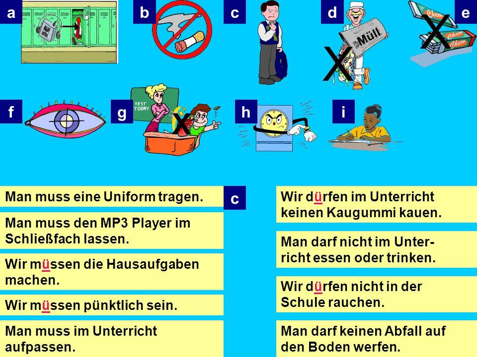 Man muss… = You (as in everybody) must Wir müssen… = We must Man darf kein/e/en… Man darf nicht… = You mustnt You are not allowed Wir dürfen kein/e/en