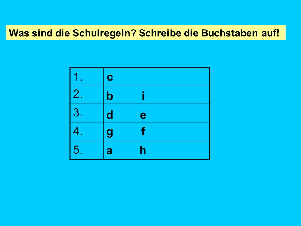 abcde fghi X X X 1.c 2. 3. 4. 5. Was sind die Schulregeln? Kopiere die Tabelle und schreibe die Buchstaben auf!