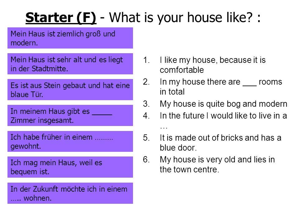 Starter (F) - What is your house like? : Mein Haus ist ziemlich groß und modern. Mein Haus ist sehr alt und es liegt in der Stadtmitte. Es ist aus Ste