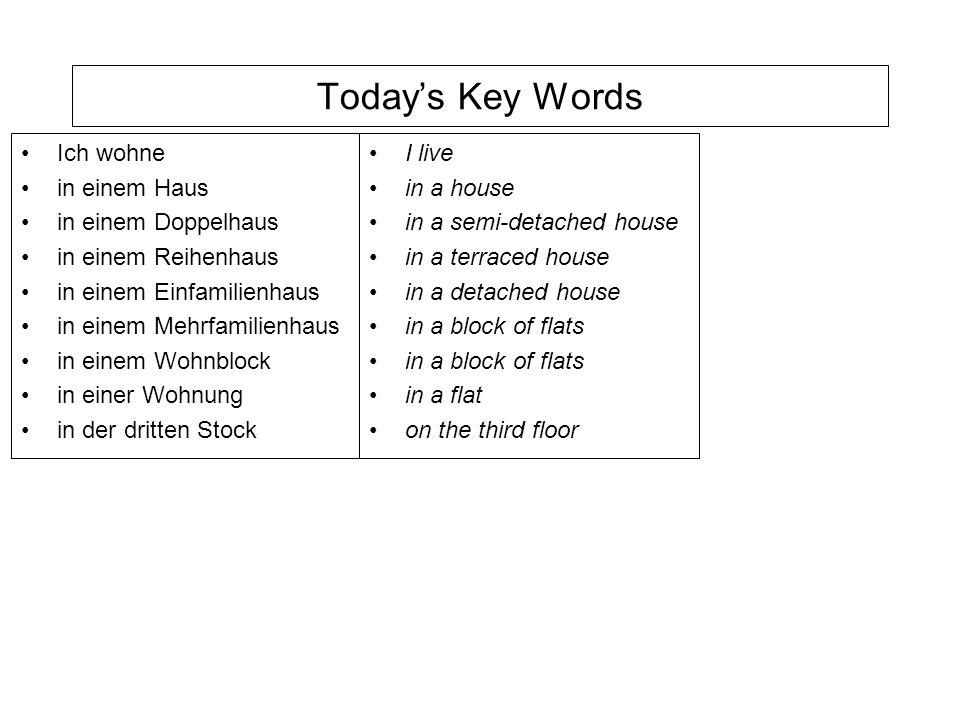 Todays Key Words Ich wohne in einem Haus in einem Doppelhaus in einem Reihenhaus in einem Einfamilienhaus in einem Mehrfamilienhaus in einem Wohnblock