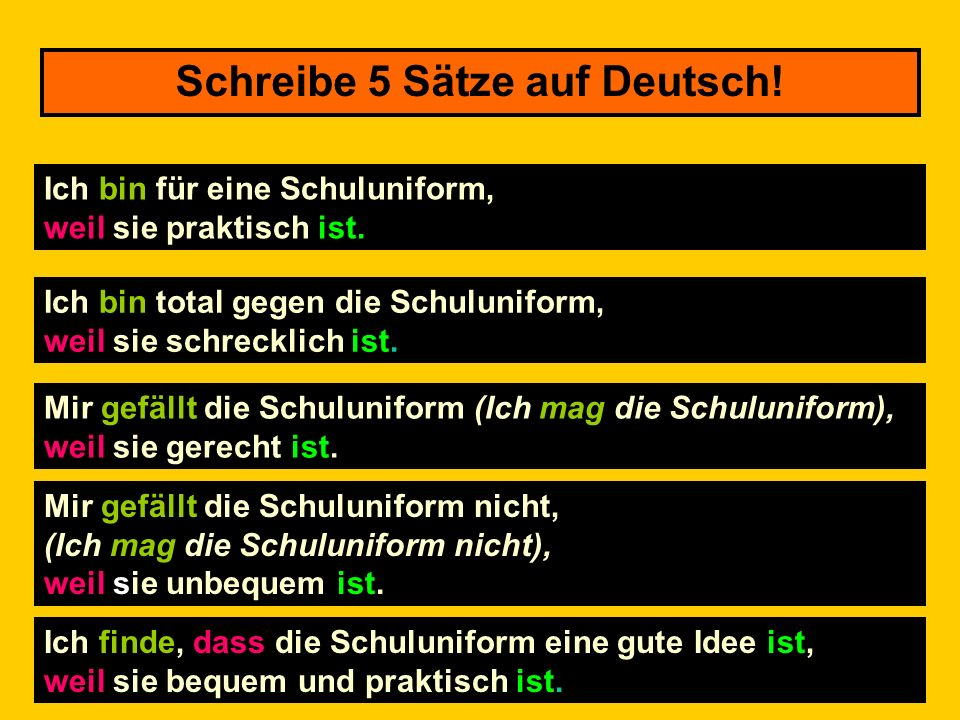Schreibe auf Deutsch! You will see an English sentence that you need to translate into German. You can use your notes to help you. You only have 30 se
