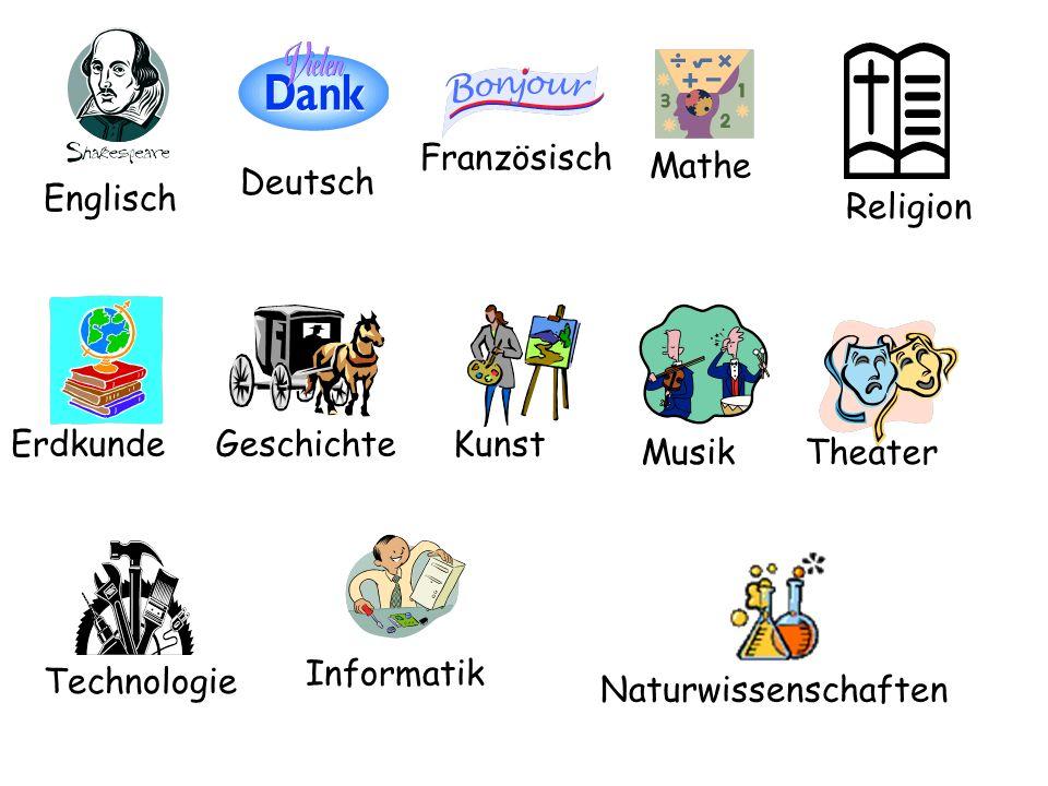 Englisch Deutsch Französisch Mathe Naturwissenschaften Religion ErdkundeGeschichteKunst MusikTheater Technologie Informatik