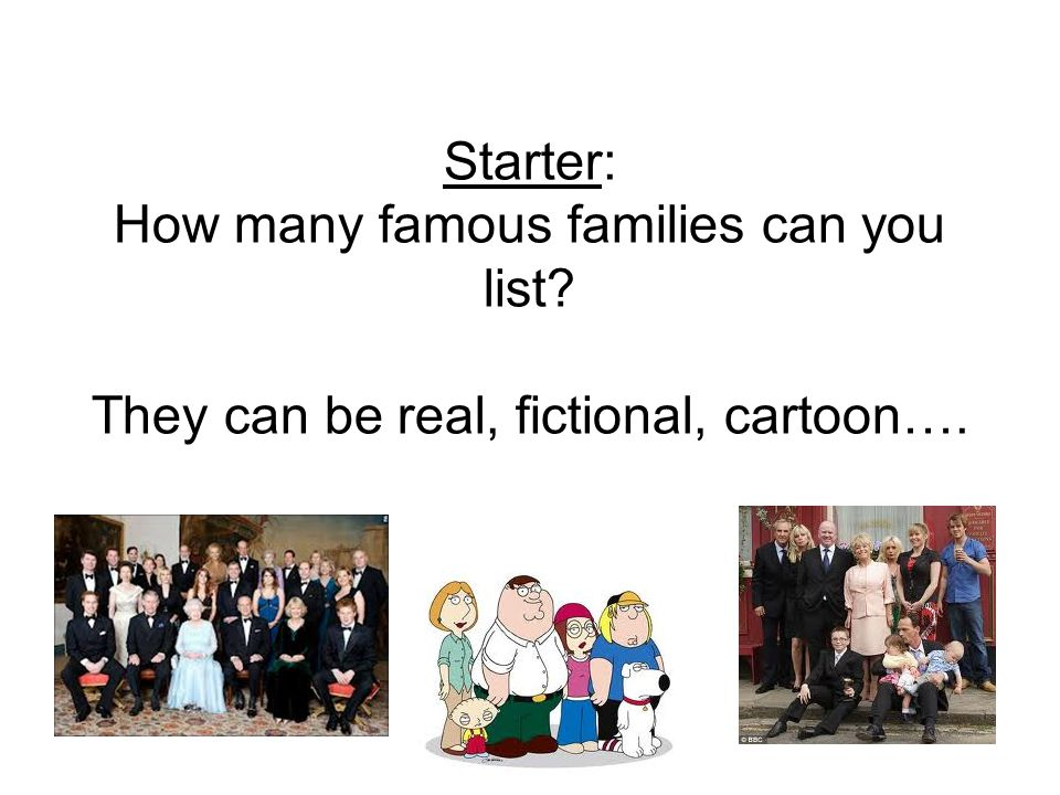 Starter: How many famous families can you list? They can be real, fictional, cartoon….