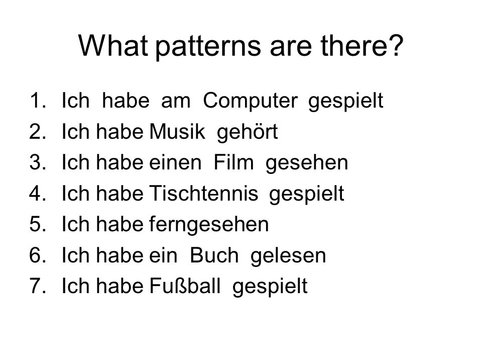 What patterns are there.