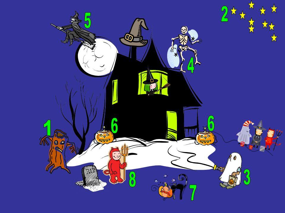 Halloween – das Abend vor Allerheiligen A.Die graue Hexe fliegt dem Mond vorbei B.Die Katze isst den orangen Kürbis C.Der Teufel ist rot und klein D.Der weiße Geist geht zum Haus E.Die zwei Kürbis brennen mit Kerzen F.Die zehn Sterne sind im Himmel G.Das Skelett steht auf dem Dach H.Der braune Baum ist sehr nervös