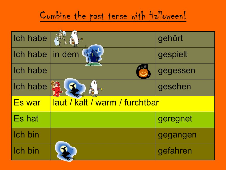 Combine the past tense with Halloween.