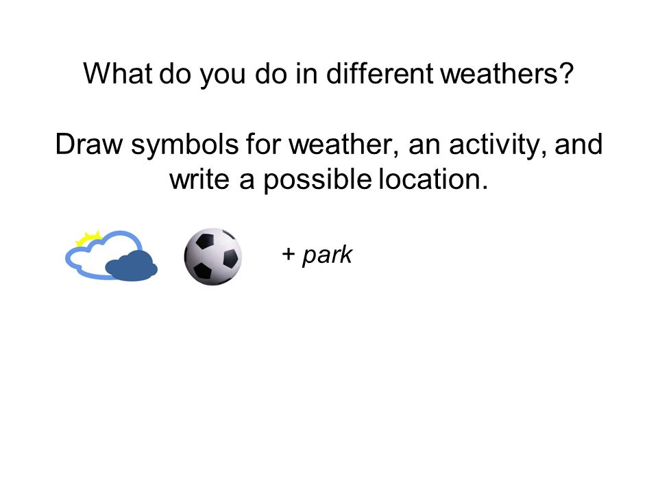 What do you do in different weathers? Draw symbols for weather, an activity, and write a possible location. + park