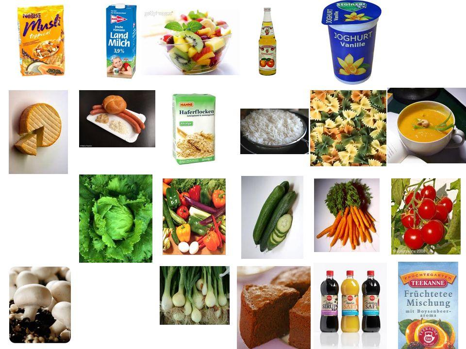 1.Milch, Wasser, Säfte, süβe Getränke 2.Süβigkeiten, Kuchen, Torten 3.Äpfel, Bananen, Orangen, Aprikosen 4.Gurken, Karotten, Pilzen, Erbsen, Zwiebeln 5.Milch, Käse, Joghurt 6.Kräutertee, Früchtetee