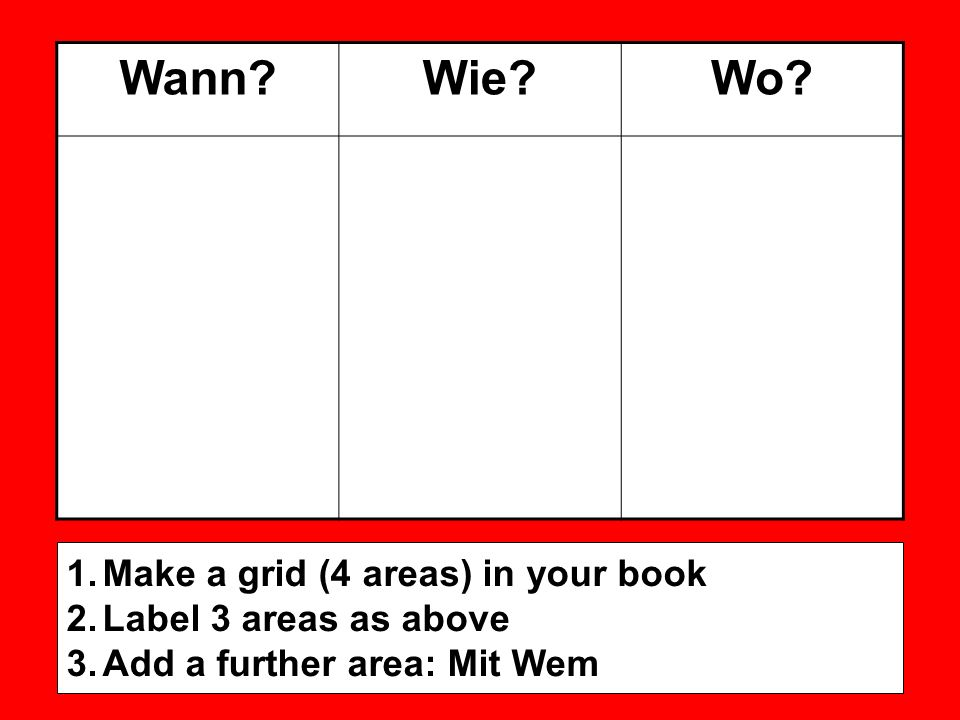 Wann?Wie?Wo? 1.Make a grid (4 areas) in your book 2.Label 3 areas as above 3.Add a further area: Mit Wem