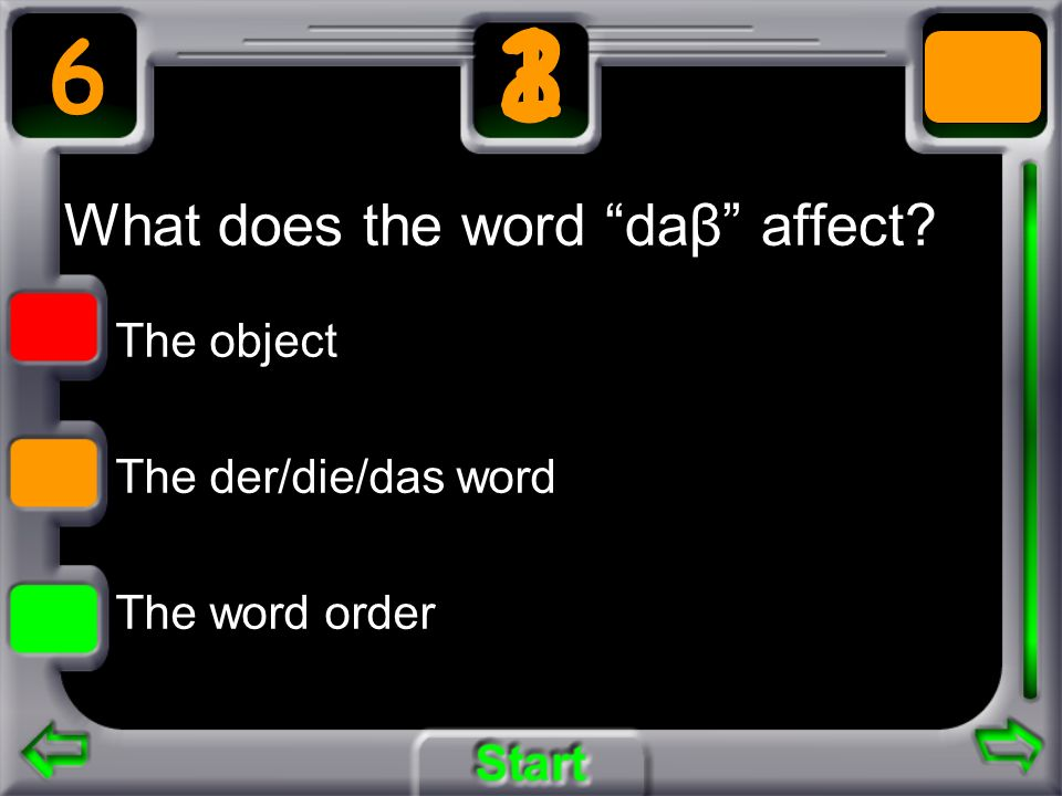 What does the word daβ affect? The object The der/die/das word The word order 6 3 21