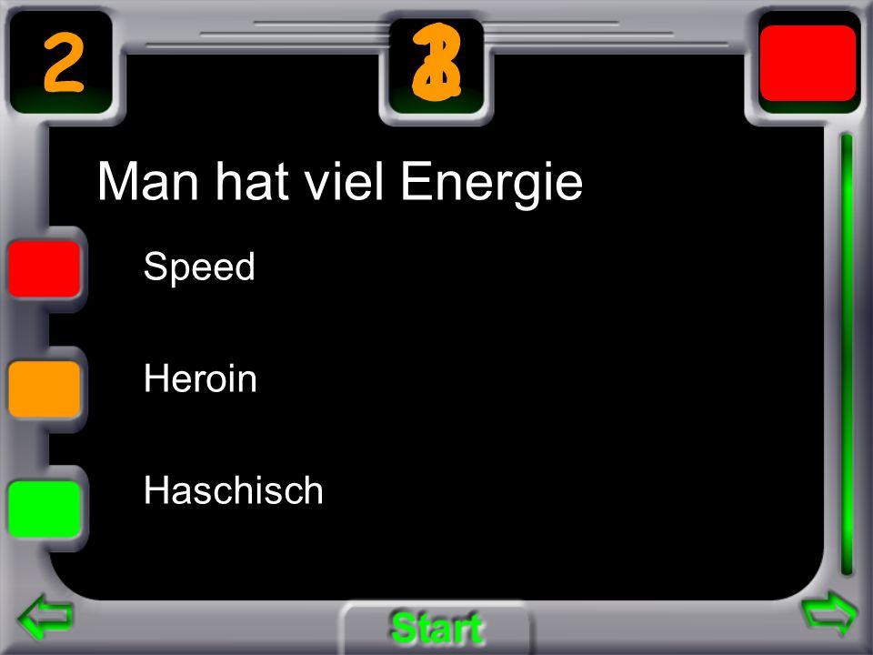Man hat viel Energie Speed Heroin Haschisch 2 3 21