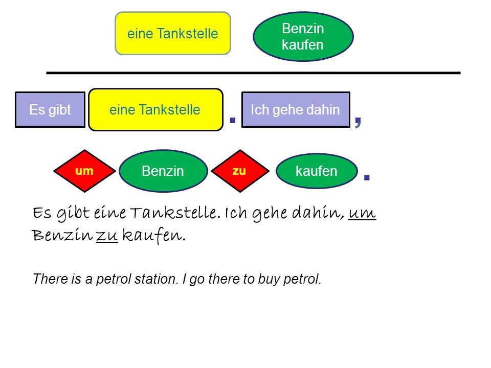 kaufen Benzin Es gibt Es gibt eine Tankstelle. Ich gehe dahin, um Benzin zu kaufen.