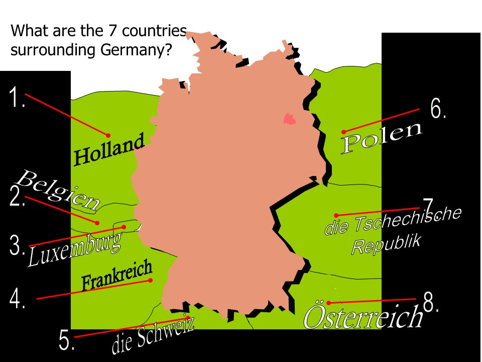 What are the 7 countries surrounding Germany? Ö