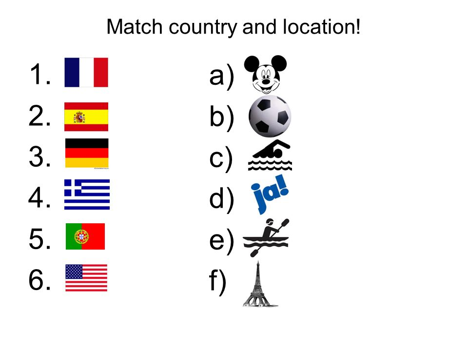 Match country and location! 1. 2. 3. 4. 5. 6. a) b) c) d) e) f)