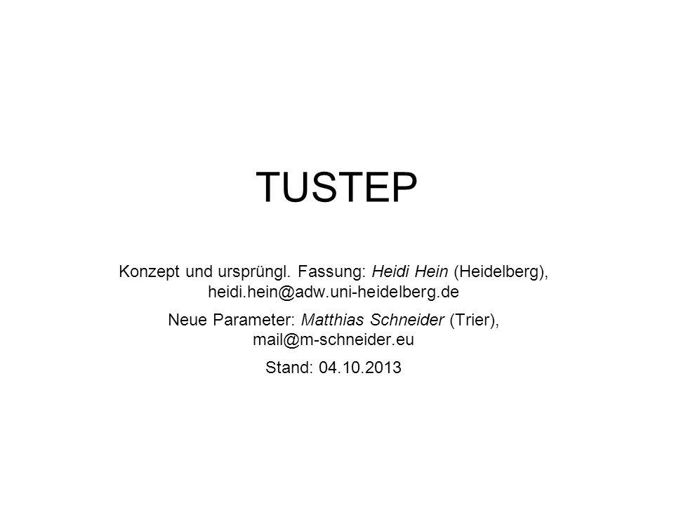 Der TUSTEP-EDITOR Die wichtigsten Anweisungen Texteingabe: ee : Eingeben am Ende der Datei ez,* : Einfügen der Windowszwischenablage (etwas mit STRG + C gemerktes) an der Sternchenposition, falls mit STRG+V nicht möglich e,* : Einfügen von max.