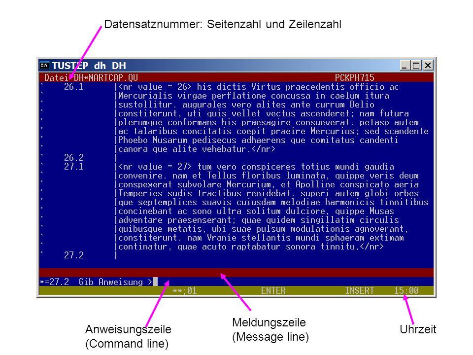 Datensatznummer: Seitenzahl und Zeilenzahl Anweisungszeile (Command line) Meldungszeile (Message line) Uhrzeit