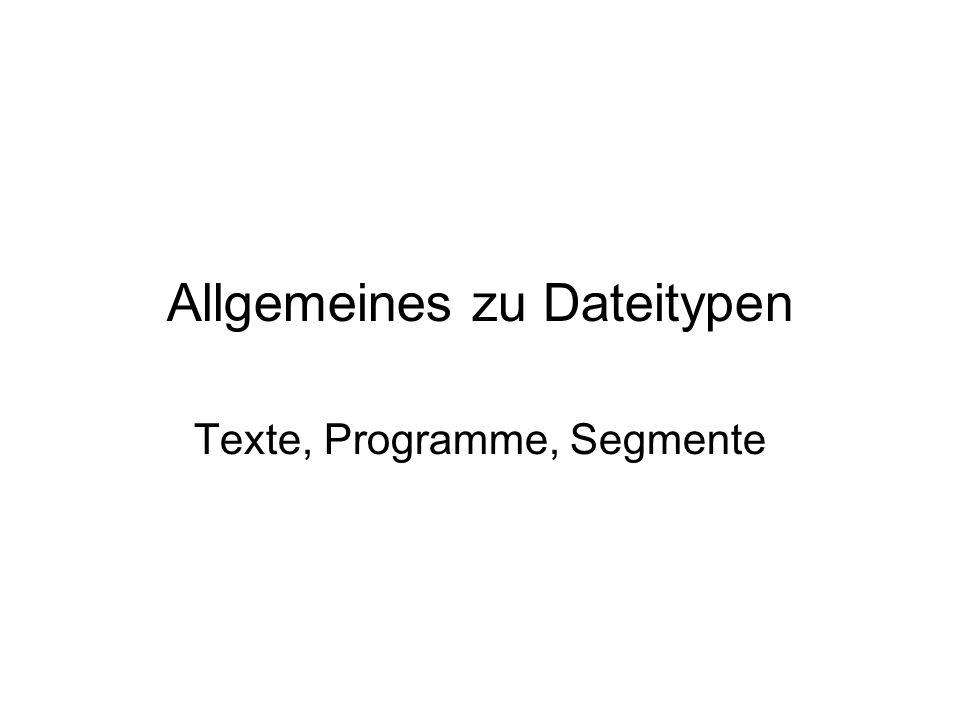 Allgemeines zu Dateitypen Texte, Programme, Segmente