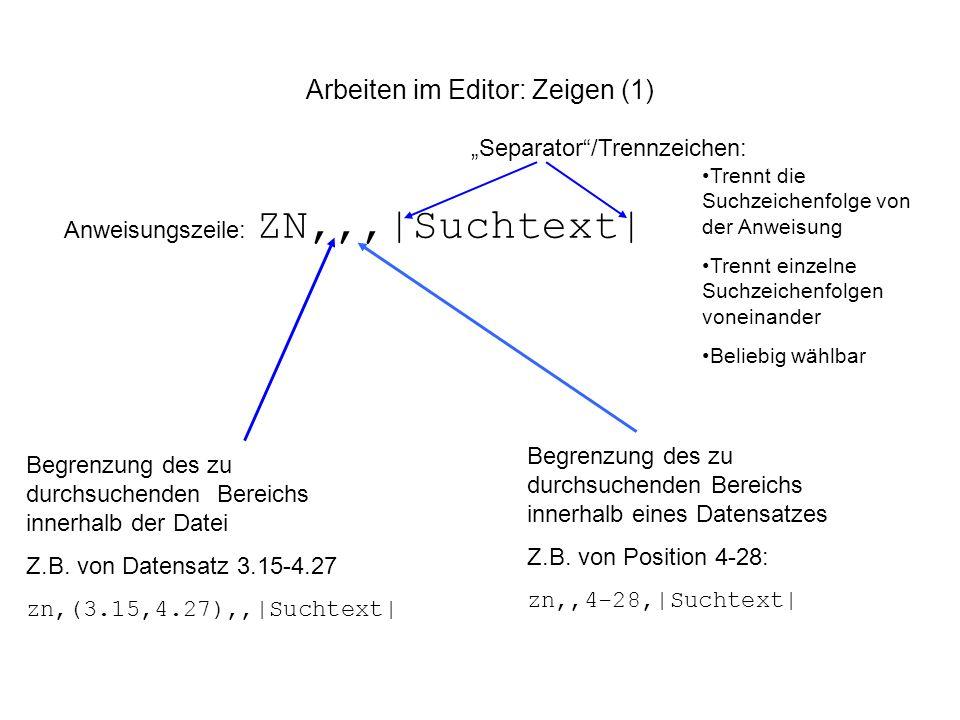 Arbeiten im Editor: Zeigen (1) Anweisungszeile: ZN,,,|Suchtext| Begrenzung des zu durchsuchenden Bereichs innerhalb der Datei Z.B. von Datensatz 3.15-
