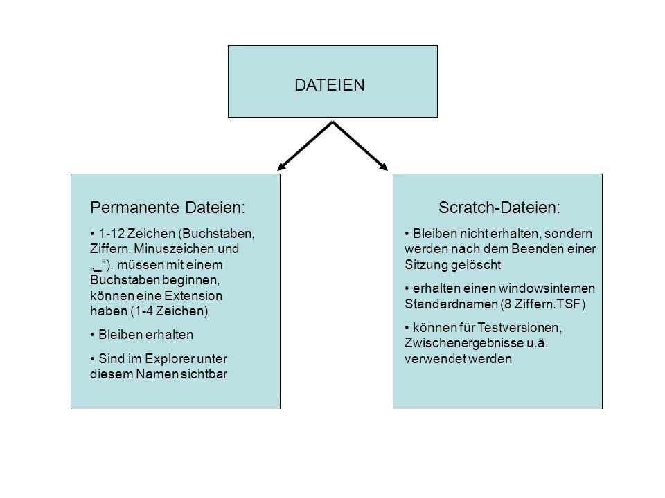 DATEIEN Permanente Dateien: 1-12 Zeichen (Buchstaben, Ziffern, Minuszeichen und _), müssen mit einem Buchstaben beginnen, können eine Extension haben