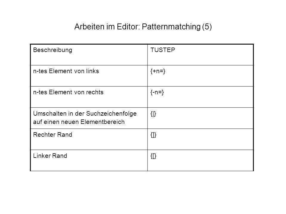 Arbeiten im Editor: Patternmatching (5) BeschreibungTUSTEP n-tes Element von links{+n=} n-tes Element von rechts{-n=} Umschalten in der Suchzeichenfol