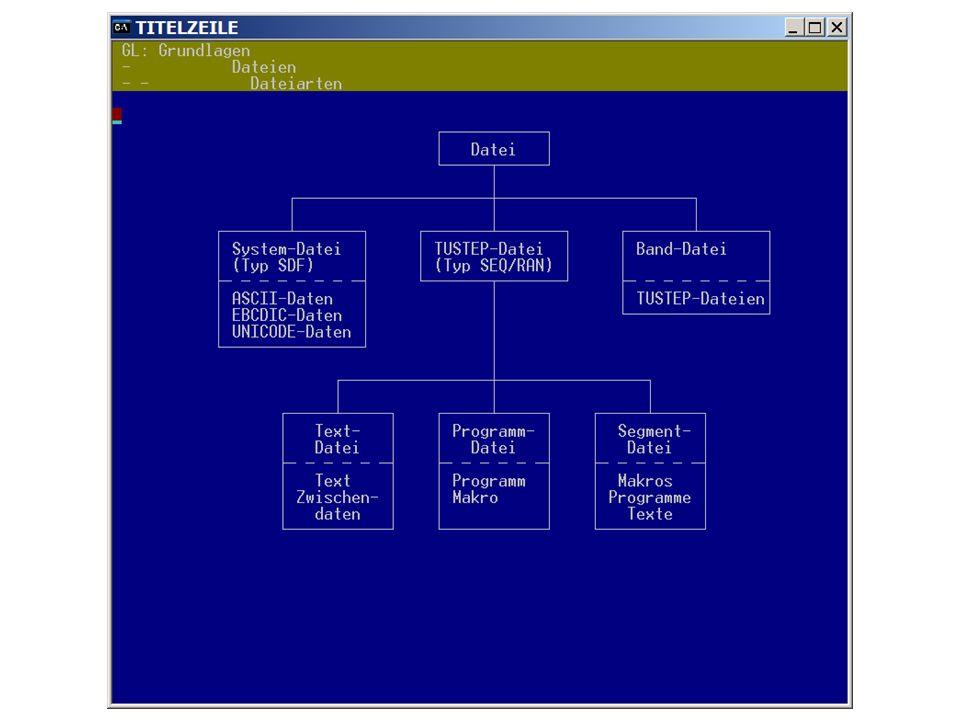 TUSTEP-Dateien Textdatei: - enthält Texte, Zwischendaten - ist im Textmodus nummeriert Programmdatei: - enthält eine Kommandofolge oder ein Kommandomakro - ist im Programm-Modus nummeriert Segmentdatei: - enthält einzelne Dateien (= Segmente) - am Anfang der Datei steht ein Inhaltsverzeichnis - Beispiele: pr.ueb: enthält Übungsprogramme tx.ueb: enthält Textdateien als Übungsmaterial nie in Segmentdateien direkt arbeiten, sondern Segment rausholen, bearbeiten, zurückkopieren!!!