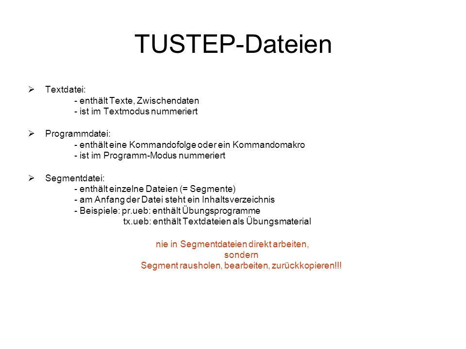 TUSTEP-Dateien Textdatei: - enthält Texte, Zwischendaten - ist im Textmodus nummeriert Programmdatei: - enthält eine Kommandofolge oder ein Kommandoma