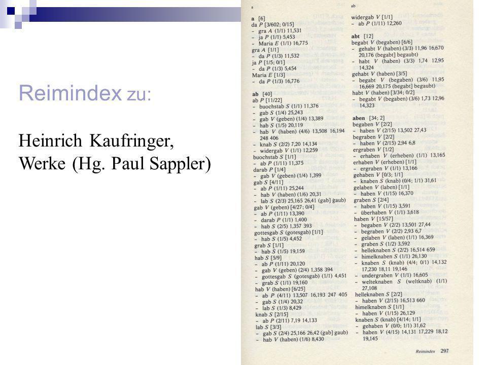 Reimindex zu: Heinrich Kaufringer, Werke (Hg. Paul Sappler)