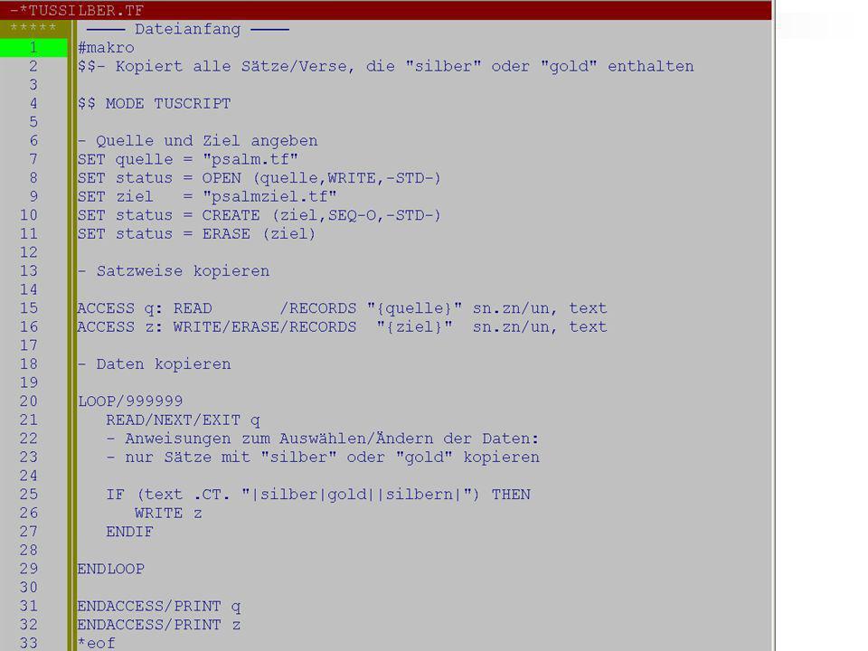 Vorzüge von TUSCRIPT Verarbeitung von anderen Dateiformaten (vor allem XML-Daten) Interaktiver Programmablauf möglich Modulares Programmieren (Unterprogramme) Programmieren von Eingabeformularen