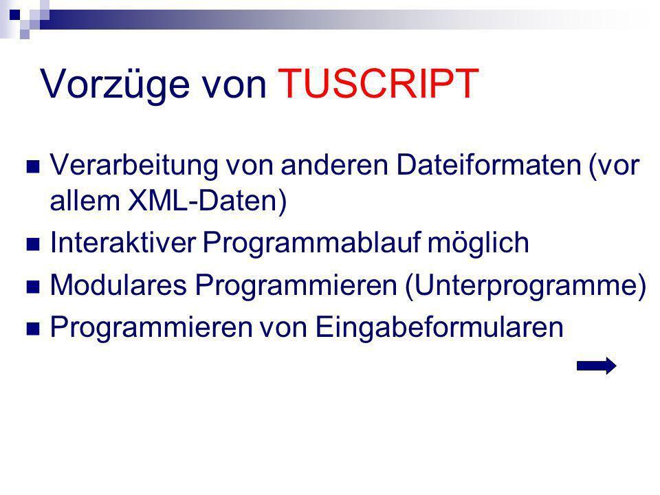 Vorzüge von TUSCRIPT Verarbeitung von anderen Dateiformaten (vor allem XML-Daten) Interaktiver Programmablauf möglich Modulares Programmieren (Unterpr