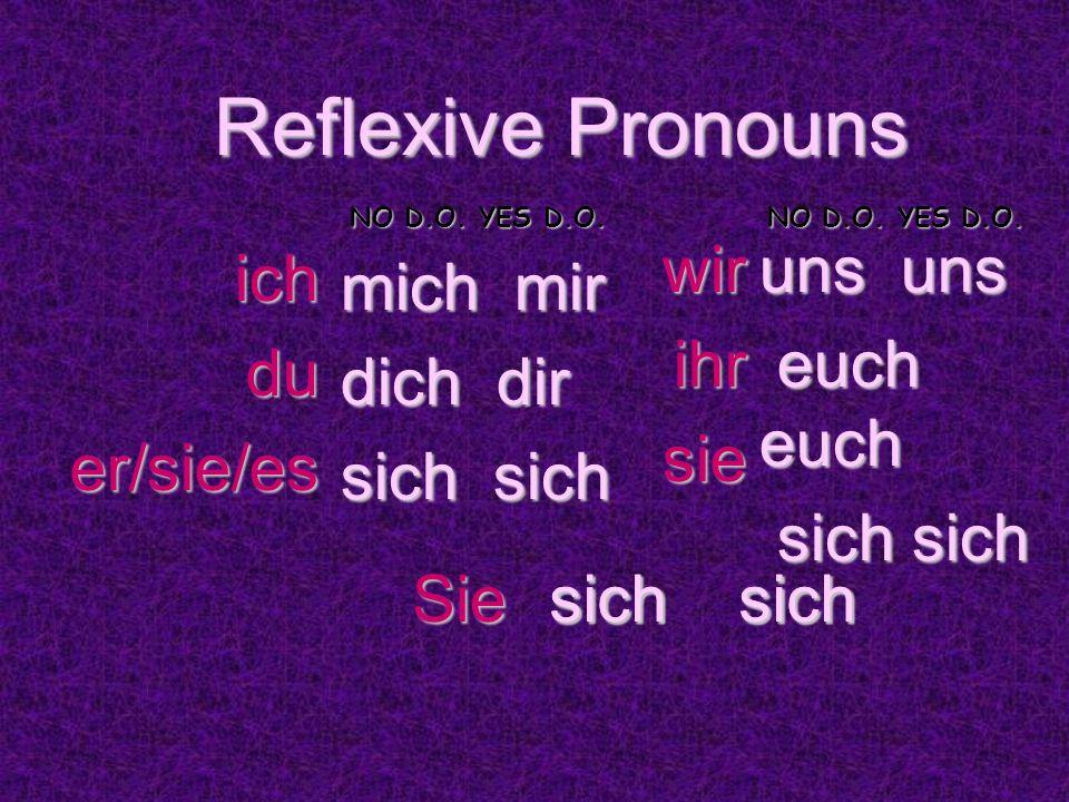 Reflexive Pronouns mich mir dich dir sich sich sich sich uns uns euch euch sich sich ichduer/sie/es wirihrsie Sie sich sich NO D.O.