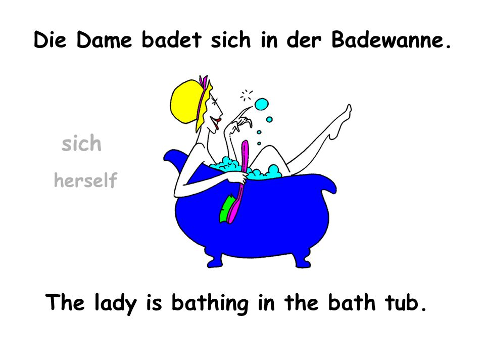Die Dame badet sich in der Badewanne. The lady is bathing in the bath tub. herself sich