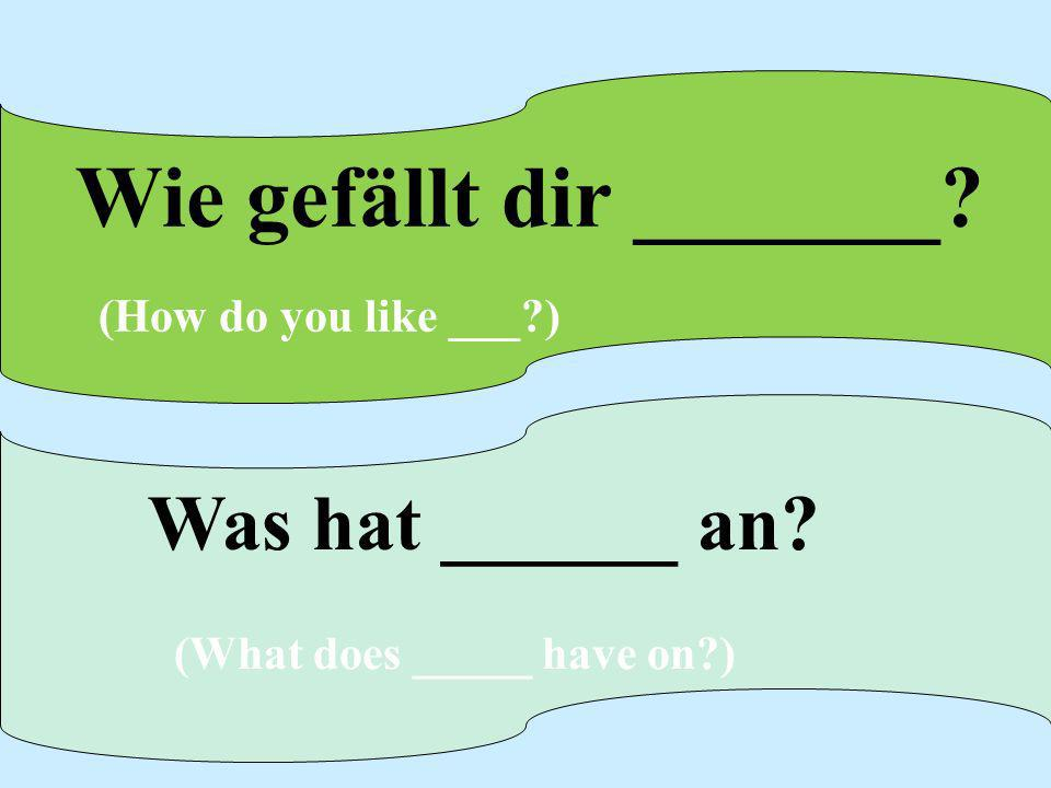 Wie gefällt dir _______? (How do you like ___?) Was hat ______ an? (What does _____ have on?)