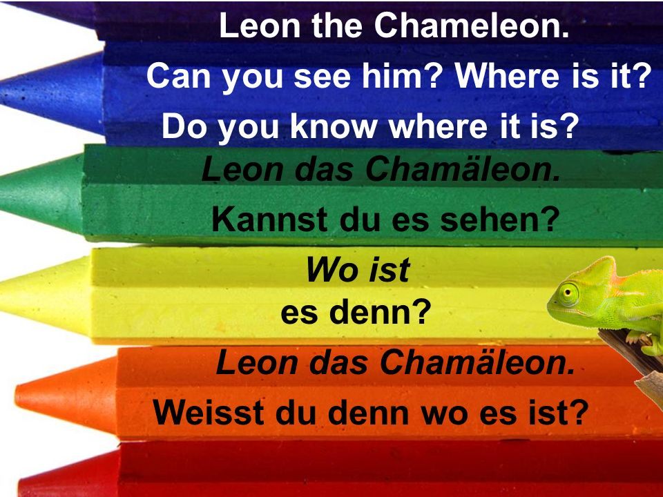 Leon das Chamäleon. Kannst du es sehen? Wo ist es denn? Leon das Chamäleon. Weisst du denn wo es ist? Leon the Chameleon. Can you see him? Where is it