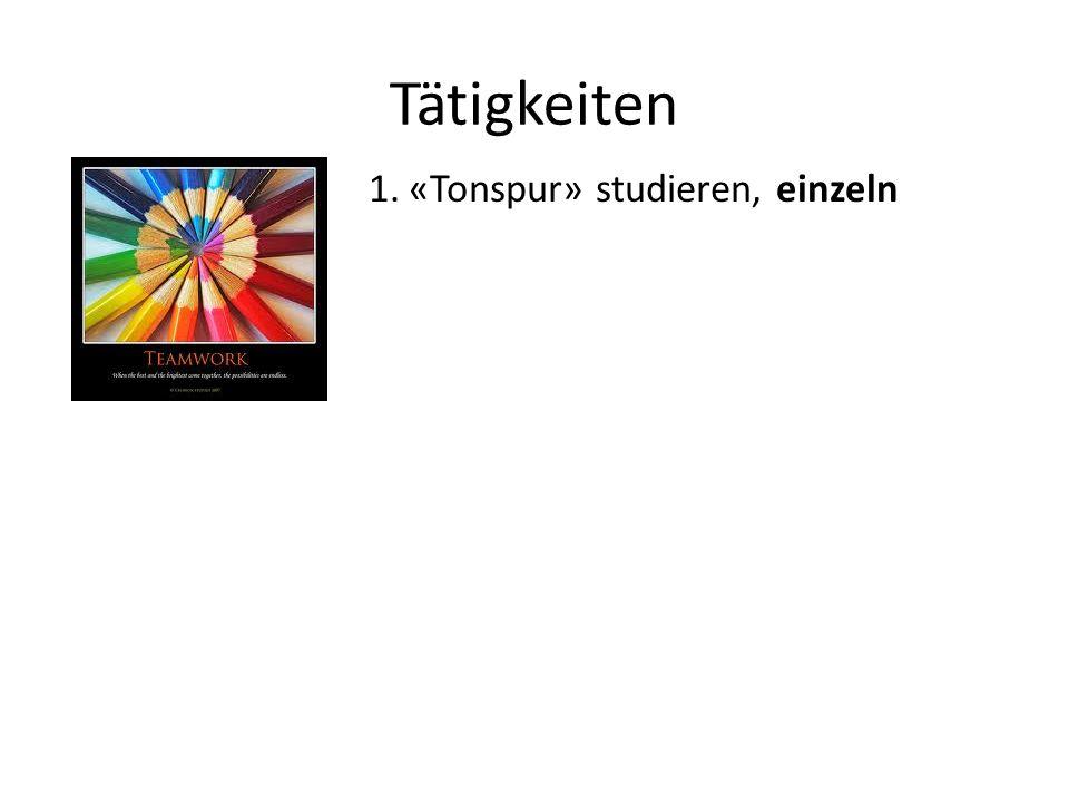 Tätigkeiten 1.«Tonspur» studieren, einzeln 2.Einander den Inhalt gegenseitig erklären
